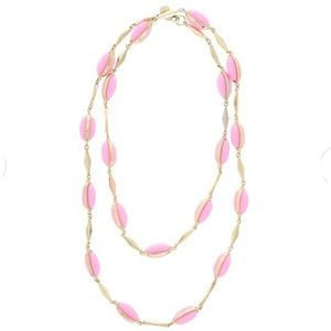 J. Crew Pink & Gold Tone Station Long Necklace